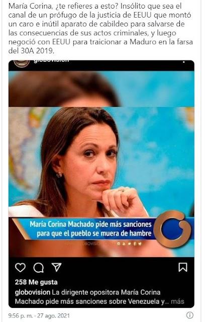 Globovisión ataca a María Corina Machado por pedir más sanciones contra el Régimen