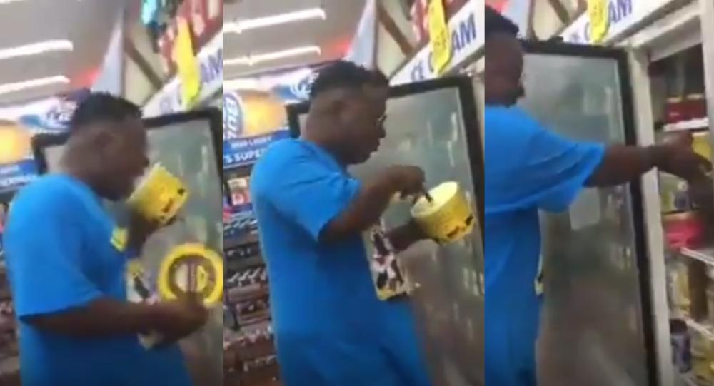 Άνδρας συνελήφθη επειδή έγλυφε παγωτό από την συσκευασία σε σούπερ μάρκετ (Βίντεο)
