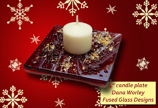 Finished candle plate in red fusers reserve