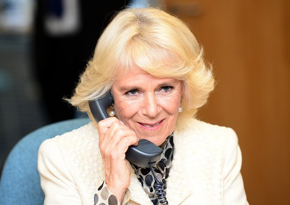 Camilla, Duchess of Cornwall visited The Silver Line office, a helpline for elderly people in Blackpool