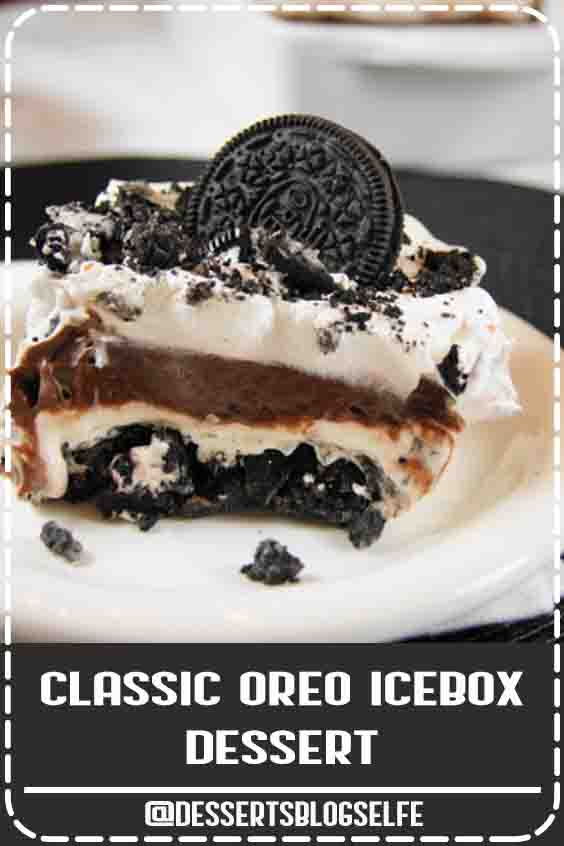 With creamy layers of pudding, Oreos, and whipped cream, this easy no-bake dessert is always a hit! #DessertsBlogSelfe #thekitchenismyplayground #SummerDesserts #oreo