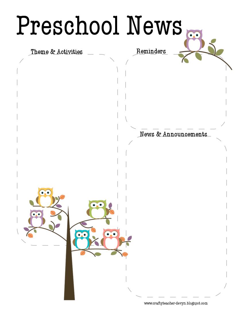 Preschool owl newsletter template the crafty teacher for Free april newsletter template