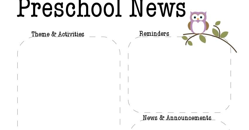 Preschool Owl Newsletter Template The Crafty Teacher - preschool newsletter template