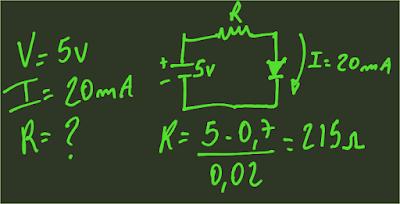 calculando um resistor para um circuito com fonte de 5v e led com corrente de 20ma