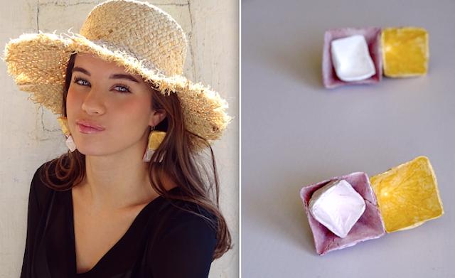 Gioielli di carta 2018, orecchini geometrici a priramide  di Alessandra Fabre Repetto