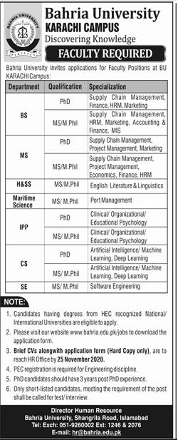 Bahria University Karachi Latest Jobs in Pakistan