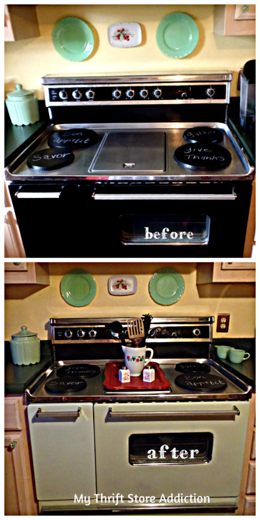 Before and after painting oven mint green