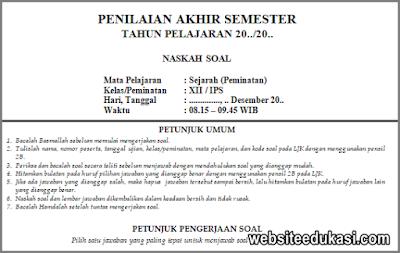 Soal PAS Sejarah Peminatan Kelas 12 Tahun 2019/2020