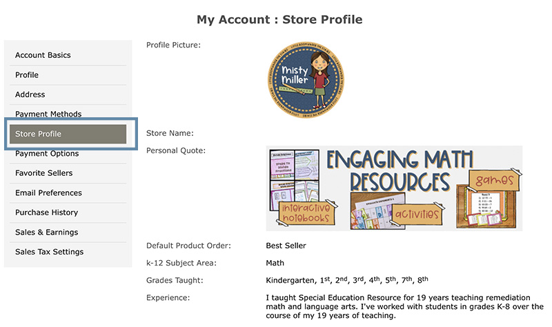 Image of My Account page with Store Profile boxed