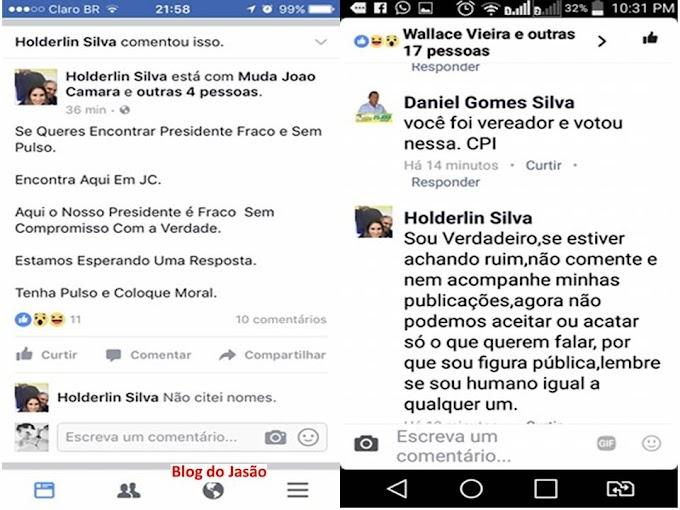João Câmara: Desentendimento entre o vice prefeito e o presidente da câmara de vereadores nas redes sociais ontem a noite.