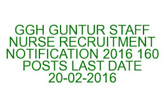 GGH GUNTUR STAFF NURSE RECRUITMENT NOTIFICATION 2016 160 POSTS LAST DATE 20-02-2016