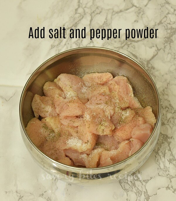 a bowl with chicken,salt and pepper powder