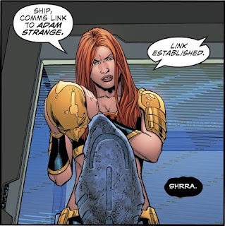Hawkwoman takes off her helmet to get a closer look at a rock