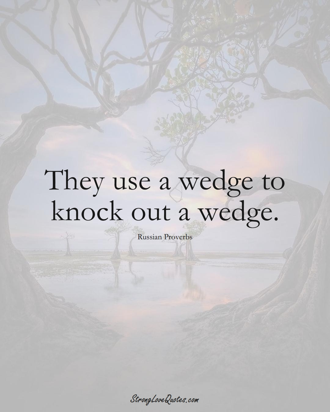 They use a wedge to knock out a wedge. (Russian Sayings);  #AsianSayings
