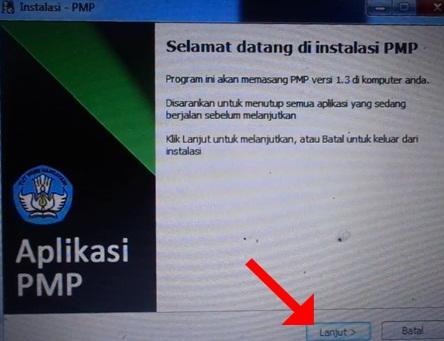 Klik Lanjut pada Halaman Selamat datang di instalasi PMP 13