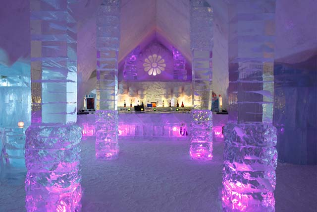Entrance to the ice glass hotel
