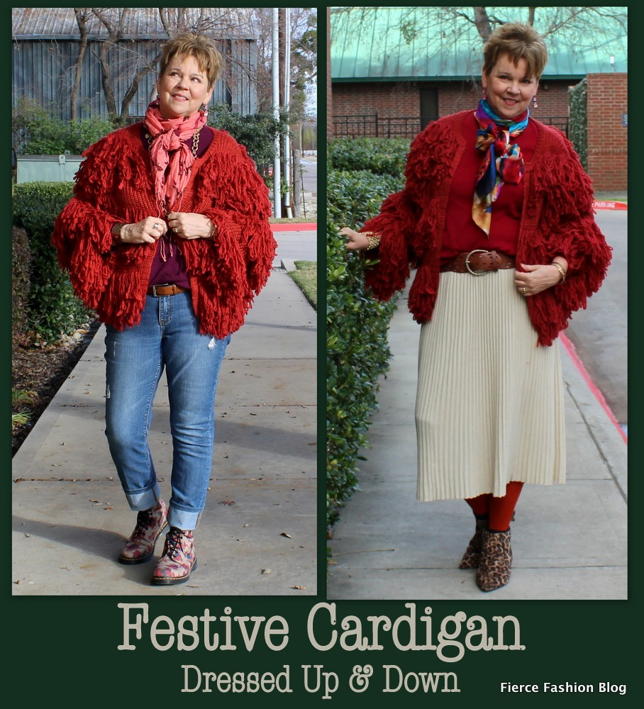 Festive Red Cardigan Dressed Up & Down