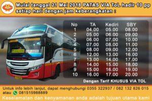 Jadwal Keberangkatan Patas Via Tol PO.Harapan Jaya Tulungagung-Surabaya