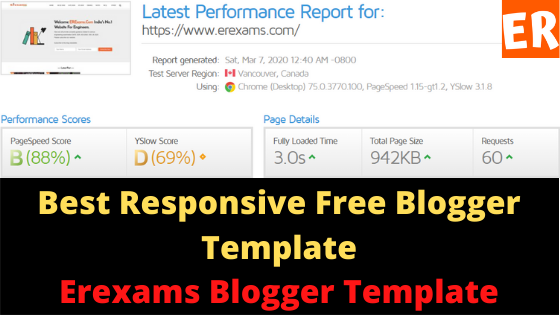 Best Responsive Free Blogger Template | Erexams Blogger Template