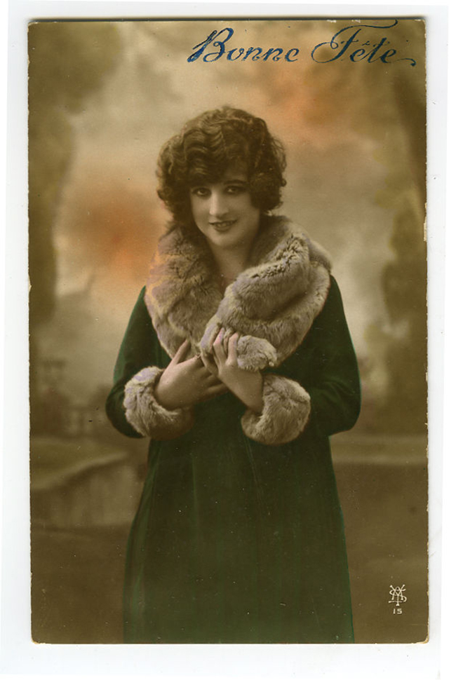 lady photos postcards Vintage