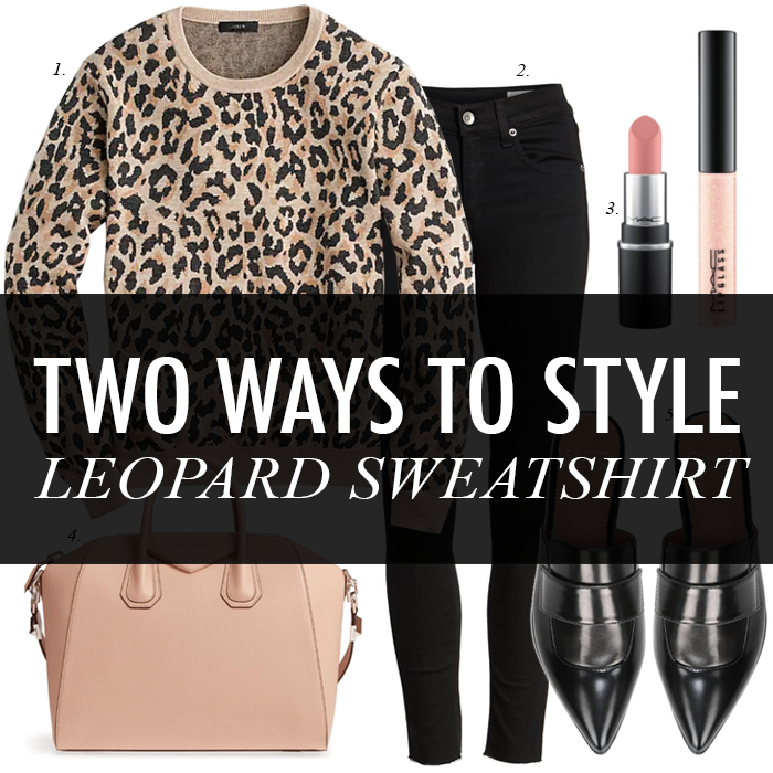 leopard sweatshirt, black skinny jeans, givenchy bag, blogger style