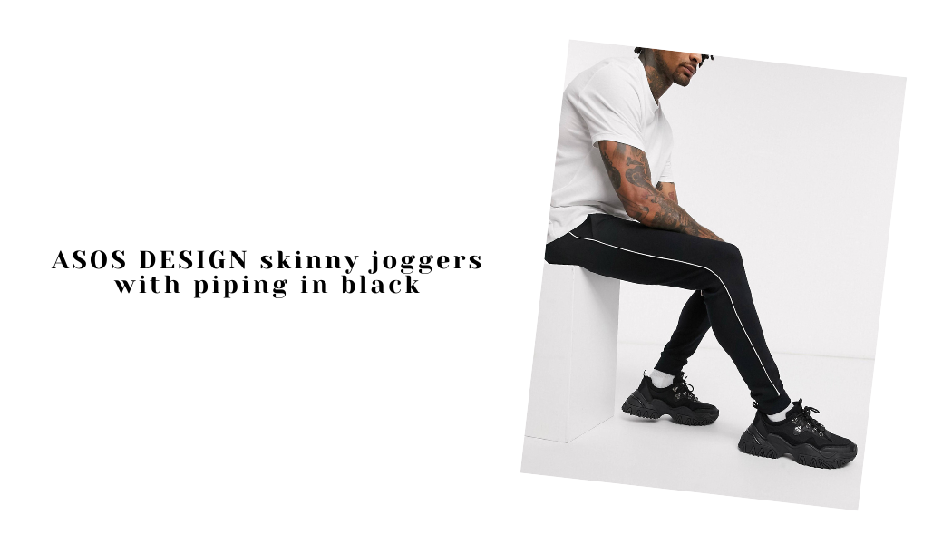 ASOS DESIGN skinny joggers with piping in black