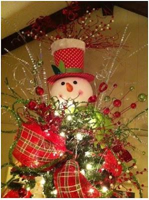 manualidades para decorar la punta del árbol frosty hombre de nieve