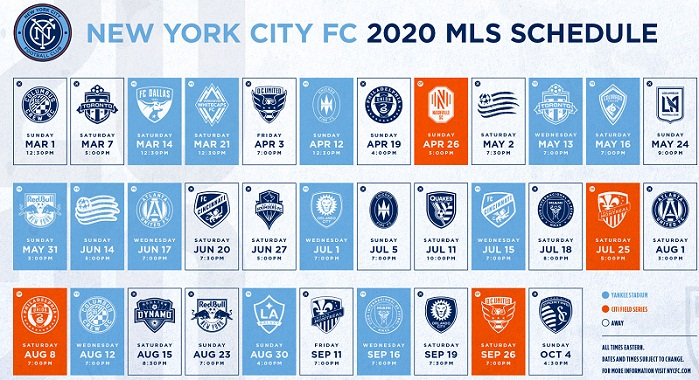 New York City FC:  NYCFC 2020 MLS Regular Season Printable Schedule
