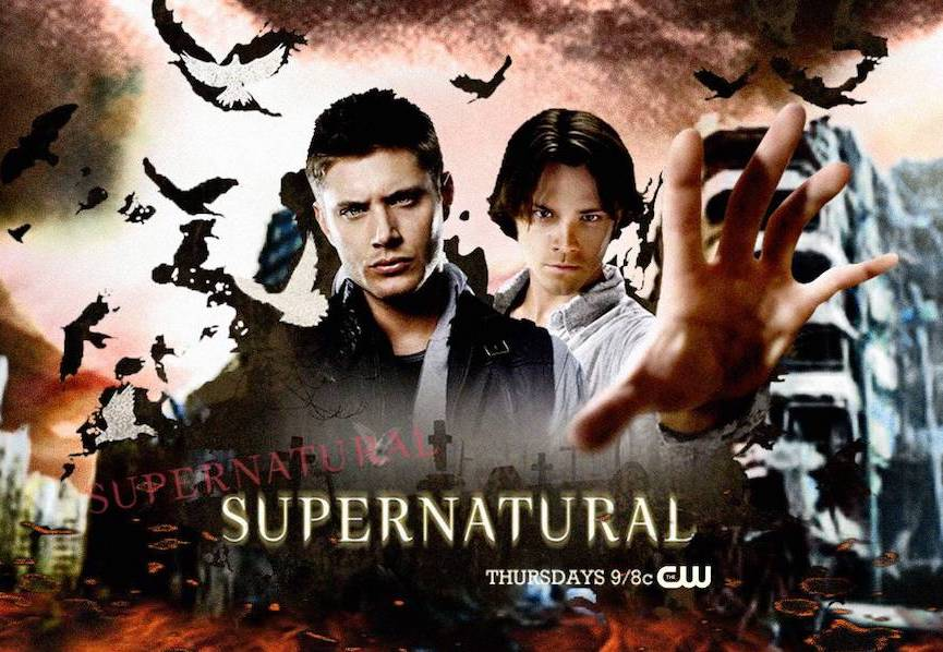 Jensen Ackles as Dean and Jared Padelecki as Sam against nightmarish background, Sam's hand reaching out to viewer with severe foreshortening