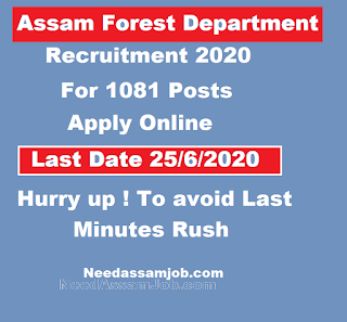 Assam Forest Recruitment 2020 for 1081 Posts : Apply Online