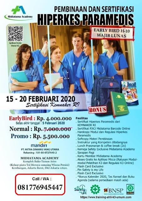 Hiperkes Paramedis tgl.15-20 Februari 2020 di Jakarta