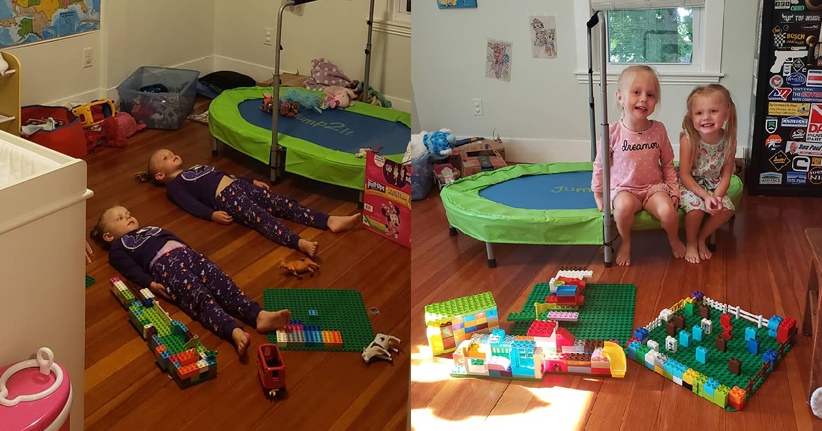 Genius Mom Convinced Her Daughters To Stay Still To Charge Glow-In-The-Dark Pijamas