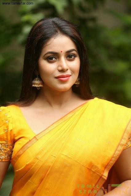 Actress Poorna New Images in Yellow Saree Actress Trend