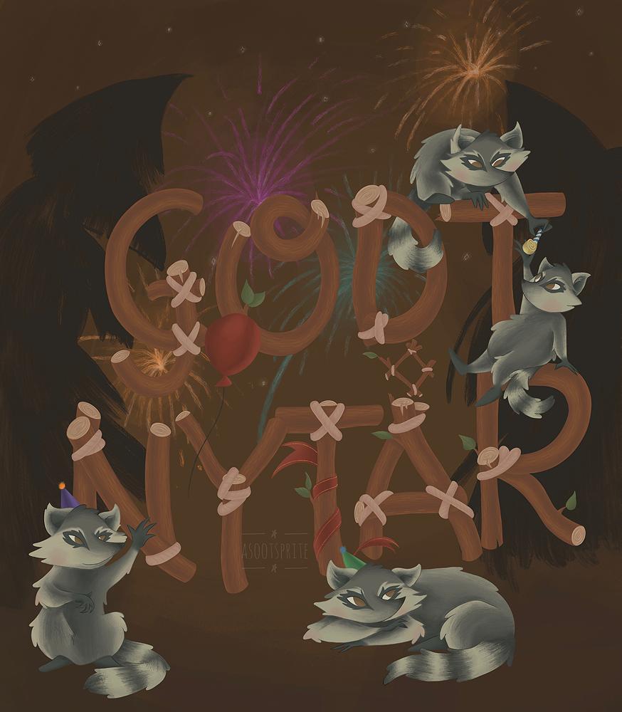 asootsprite illustration raccoon woodland new year