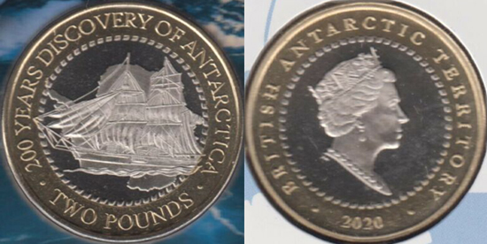 British Antarctic Territory 2 pounds 2020 - Discovery of Antarctica