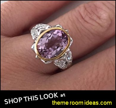 Oval Amethyst Diamond Cocktail Ring 14K White Yellow Gold Art Deco Ring Engagement Ring dress ring