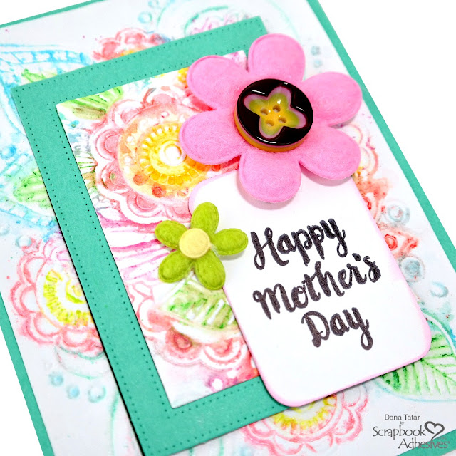Embossed Floral Watercolor Card for Mother's Day with Stamped Sentiment and Felt Flowers