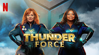 The poster for Netflix's Thunder Force, showing Melissa McCarthy and Octavia Spencer in superhero outfits doing arms-akimbo poses.