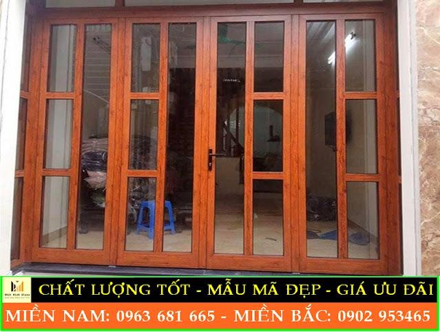 cửa nhôm xingfa vân gỗ nhập khẩu