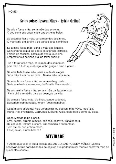 Atividade poesia Dia das Mães Se as coisas fossem mães