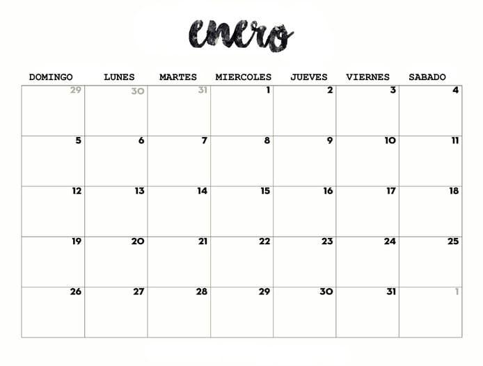 calendario 2020 de enero para imprimir