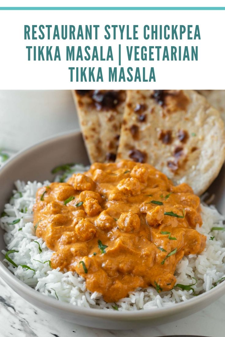 Toasted chickpeas dunked in creamy tomato authentic tikka sauce to make this restaurant-style healthy chickpea tikka masala.