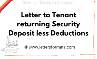 sample letter from landlord to tenant returning security deposit less deductions