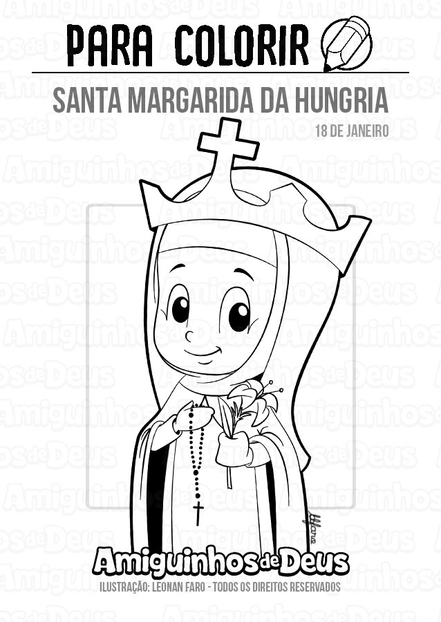 Santa Margarida da Hungria desenho para colorir
