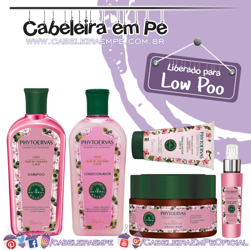 Shampoo, Condicionador, Máscara e Protetor Térmico Lisos Flor de Cerejeira e Açaí - Phytoervas (Low Poo)
