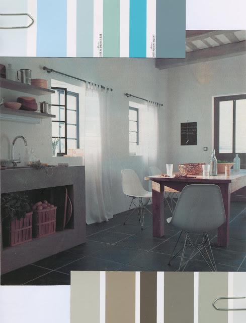 décoration, bleu, gris, nuancier, cuisine, peinture, murs, ambiance, pastel