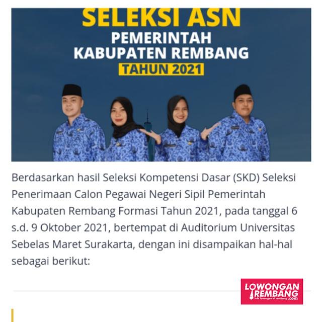 HASIL SKD CPNS 9 OKTOBER 2021 PEMERINTAH KABUPATEN REMBANG