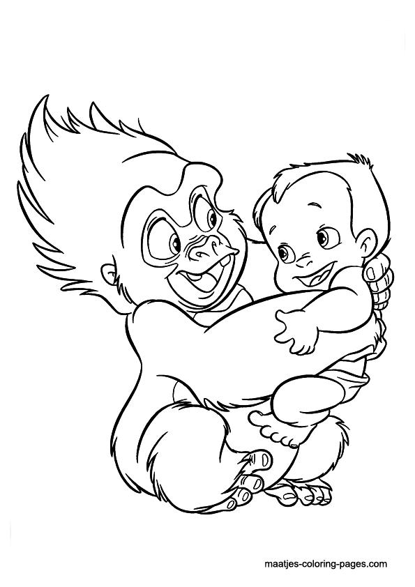 Cartoon Design: Tarzan Coloring Pages : Little Boy