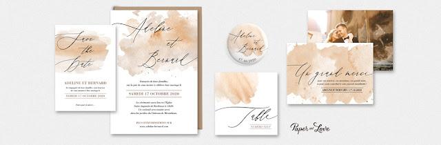 Faire-part collection calligraphie aquarelle Paper and Love blog mariage www.unjourmonprinceviendra26.com