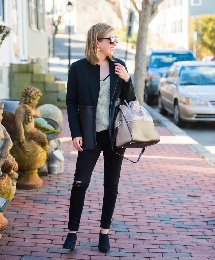 Jessica Faulkner leather jacket